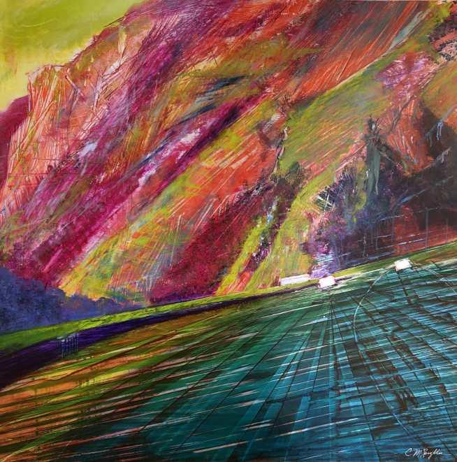 """Kaleidoscope, oil on aluminum panel, 39"""" x 39"""", $5300"""