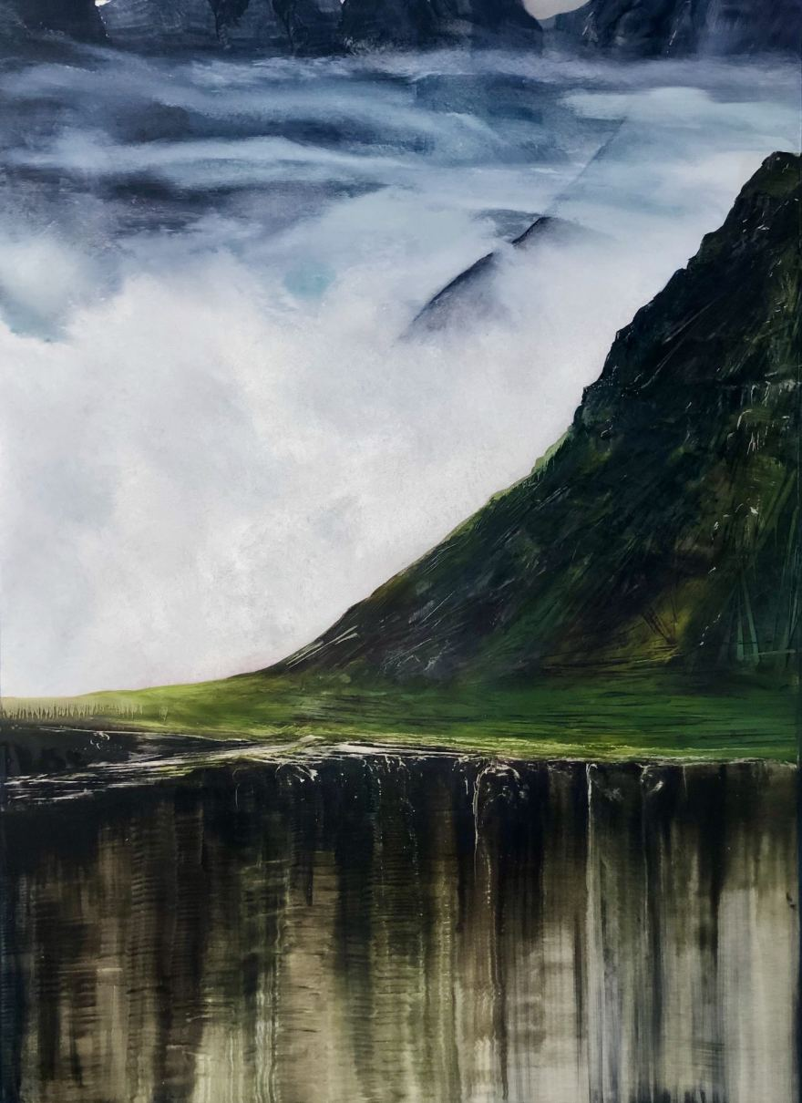 Landscape oil painting of an Icelandic mountain and fiords beyond.