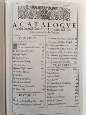 first folio table of contents