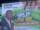 A church banner has sparked reactions online with the theme tittle that was written on it. According to what was written on the banner, it was tittled 'Come on! Let's have a little sex. This has stir reactions online by social media users.