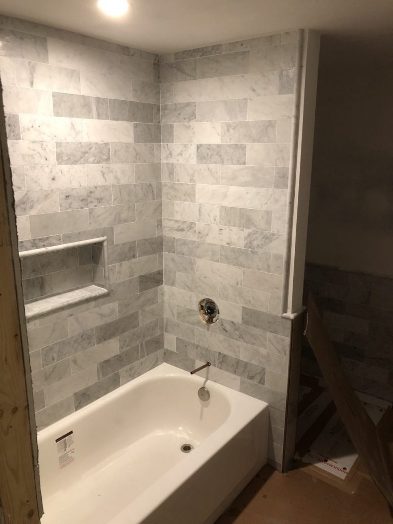 Marble Shower and Niche - Arlington VA