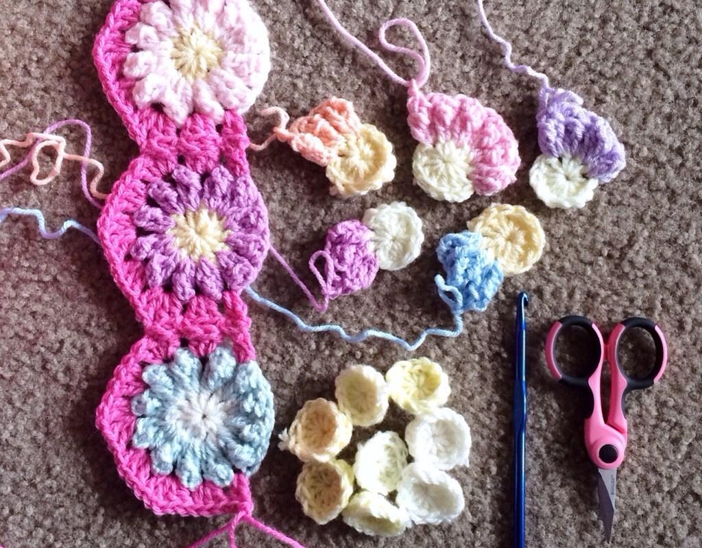 Hexagon Continuous JAYG – Granny stitch
