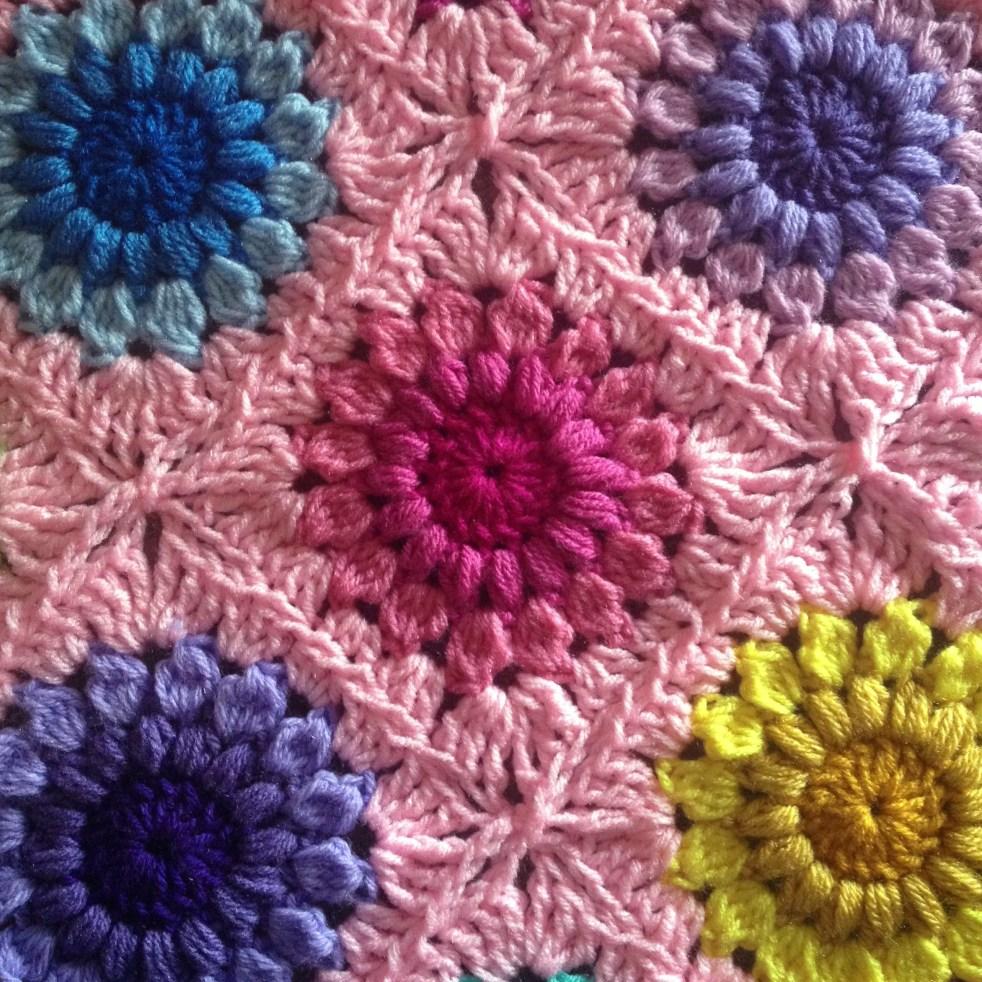 Crochet Sunburst Flower Blanket Free Tutorial Plus Continuous Join