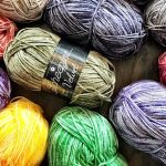 Yarn Remnants Box, or Painter's Palette? The beginnings of May's Relaxghan.