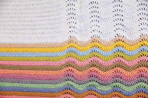Layered Waves Crochet Blanket - cypress|textiles