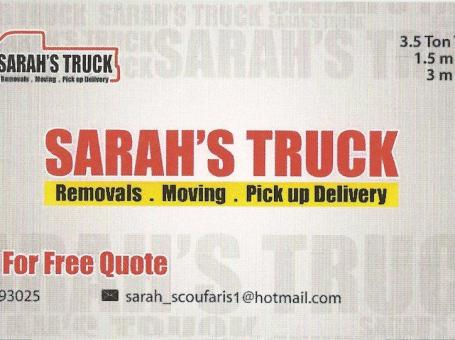 Sarah's Truck – Removals – Pickup – Delivery