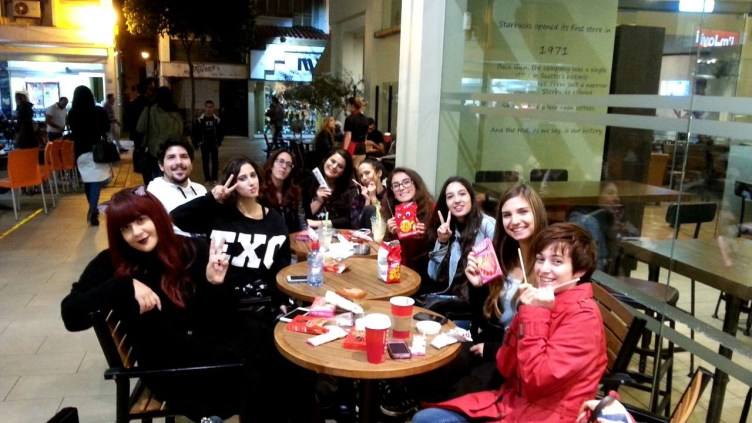 The members celebrating Pepero Day!