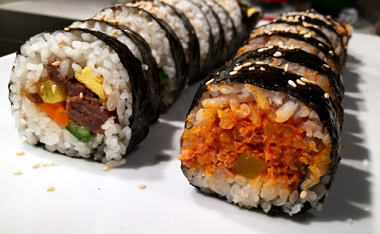 Korean kimbap prepared at a cooking session.