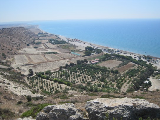 Views from above Ancient Kourion Roman ruins down to Curium Beach, Limassol