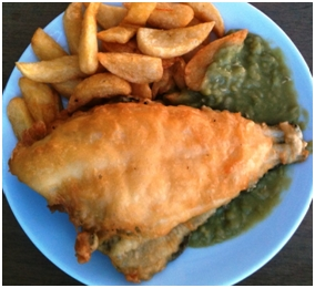 Excellent deep fried Plaice and Chips with Mushy Peas at Alsancak's Ravine Bar & Restaurant