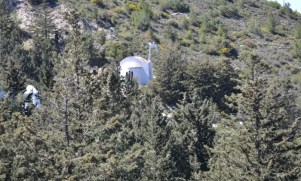 Looking back at the church in the trees