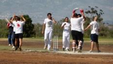 TRNC team celebrating a Mustangs wicket