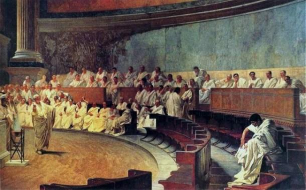 Cicero in the Roman senate.