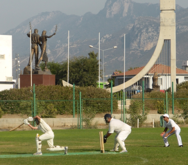 The TRNC Cricket Club home pitch on the Pia Bella stadium.