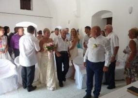 Angie walks the aisle