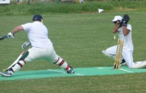 Razor sharp TRNC wicket keeper Danish Afridi, whips the bails off before Mike Roberts' foot can get back image