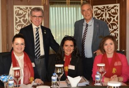 DG Khalil, President_Malcolm MIcheson and Rotaractors Sevim, Meryem and Havva