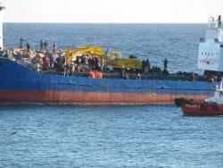 Stricken refugee boat