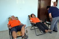 CESV volunteers waiting tio give blood at the Tatlisu blood donor day