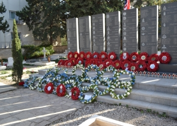 Wreaths in front of the memorial 2104