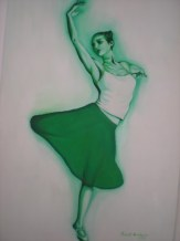 Dancing girl in green