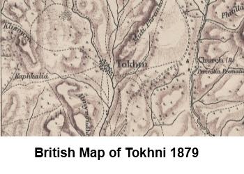 British map of Tokhni 1879