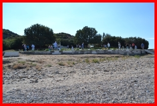 Lonely beach view of Anzac Cove cemetery