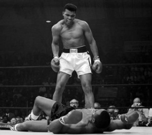 In a dramtic scene, Ali shouts at Liston to ''get up and fight'' 1965