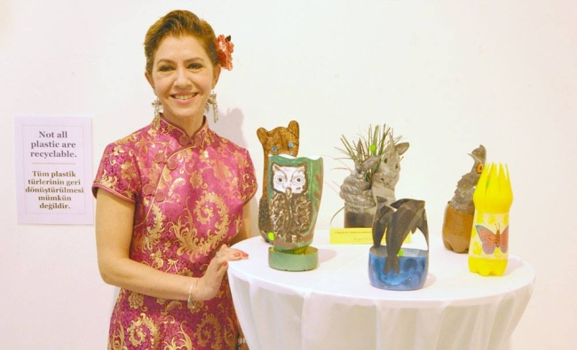 Nursel Oztekin and her Recycled artwork