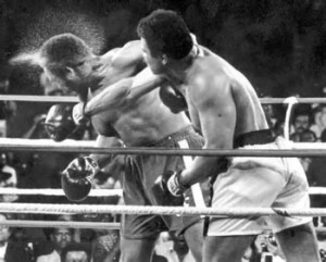 A dramatic knockout punch by Ali against Foreman 1974