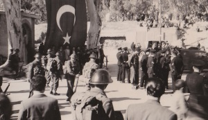 Regiment on guard at Turkish funeral