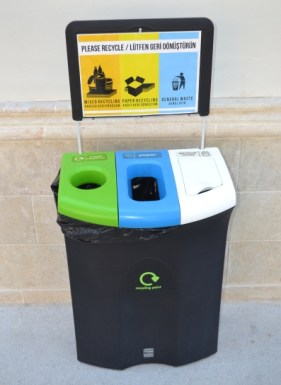 Şah Marketplace recycling bins in the external coffee area