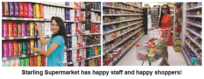Starling Supermarkey has happy staff and happy shoppers