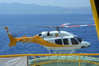 The DSI helicpter is landing on the board