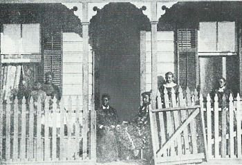 Biddy Mason (Grandma Mason) (seated left in the doorway) visiting friends in Los Angeles