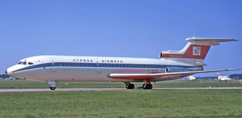 Trident in original Cyprus Airways livery. now on display at the aviation museum at Duxford, UK in original BA livery