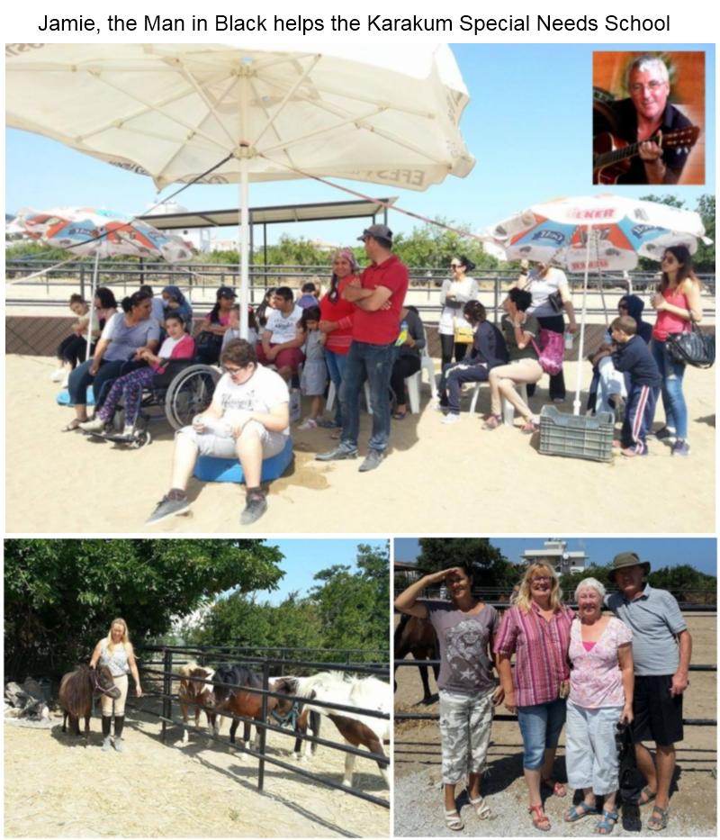 Jamie the Man in Black helps Karamum special needs school