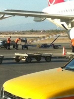 Careful loading onto plane