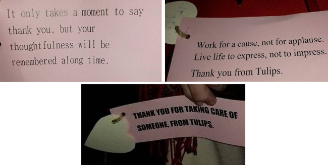 Labels on the bags with lovely hearts and written quotes thanking everyone for supporting Tulips.