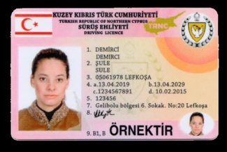 new TRNC driving licence face