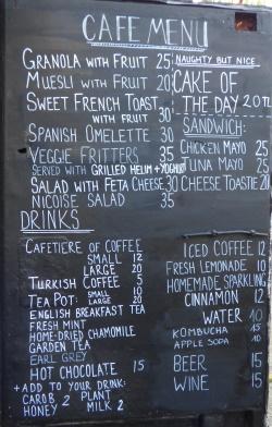 Potting Shed Cafe menu