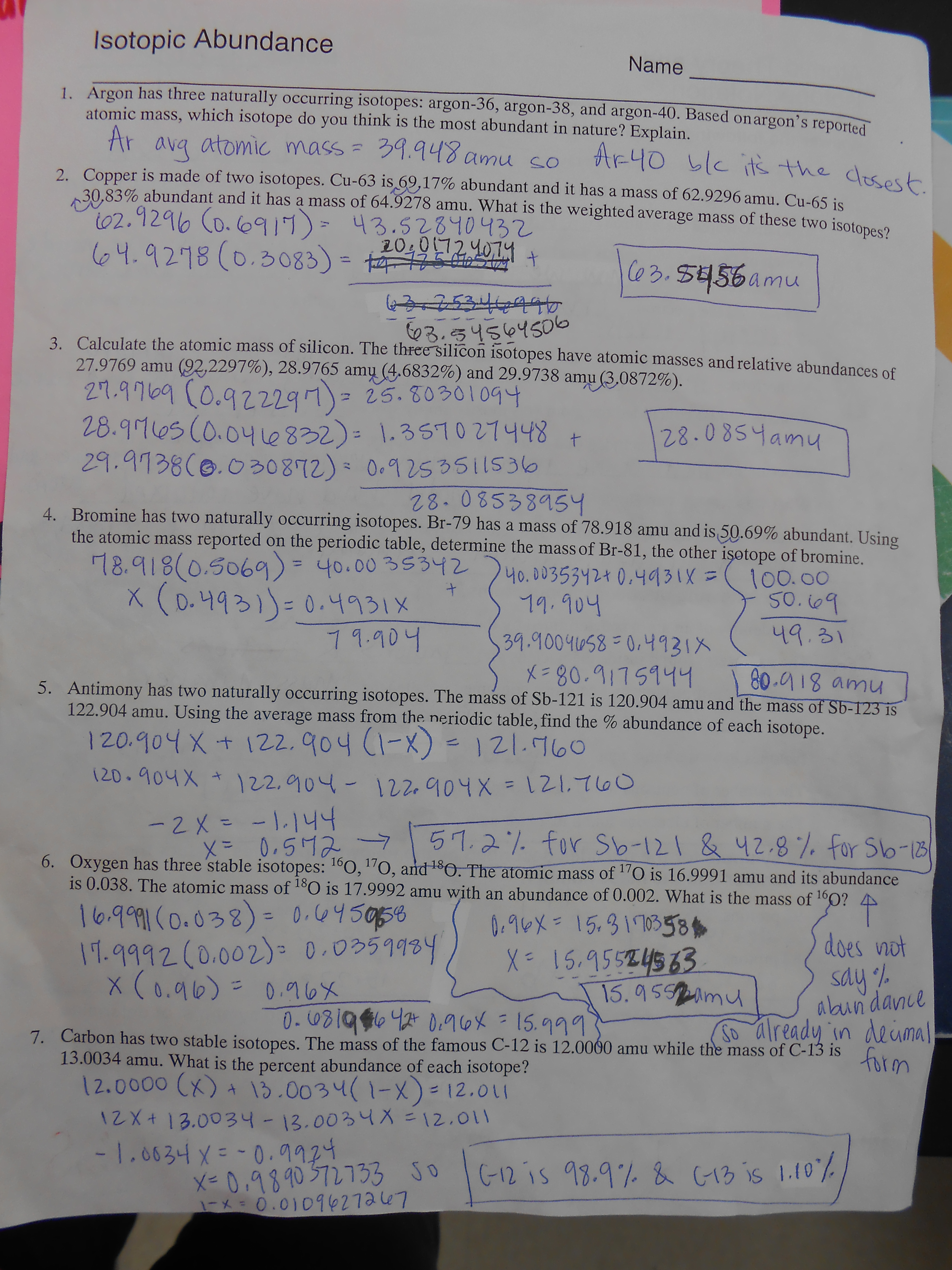 Abundance Of Isotopes Chem Worksheet 4 3