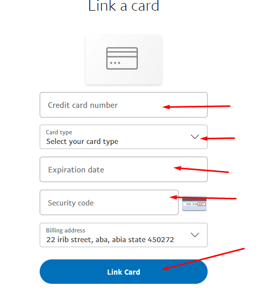 paypal link card form