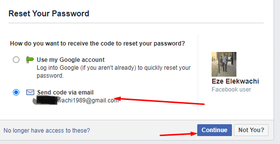 change facebook password via email