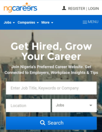 ng career homepage for job seekers
