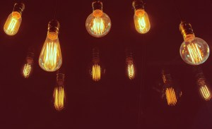 Vintage lighting decor with retro filter effect