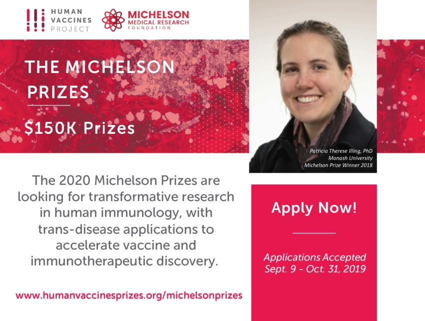 Young Investigators in the diverse field of cytokine biology are enapply for the 2020 Michelson Prizes