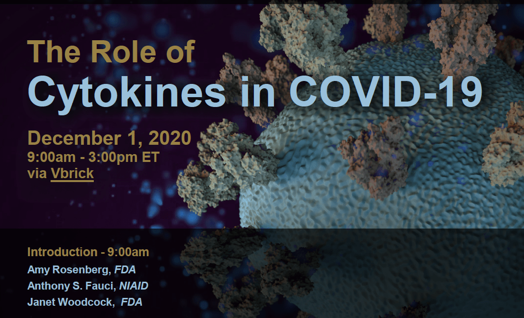 The Role of Cytokines in COVID-19, December 1, 2020 from 09:00 – 15:00 Eastern Time (US & Canada)