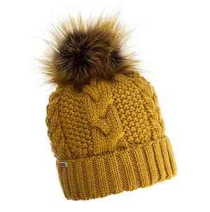 czapka-welniana-zolta-z-pomponem