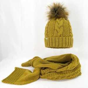 damski-zimowy-komplet-czapka-z-szalikiem-musztardowy